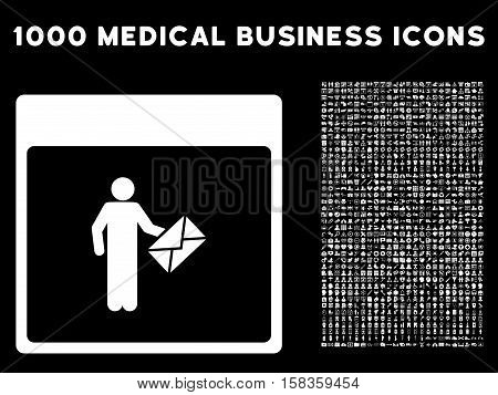 White Postman Calendar Page vector icon with 1000 medical business pictograms. Set style is flat symbols, white color, black background.