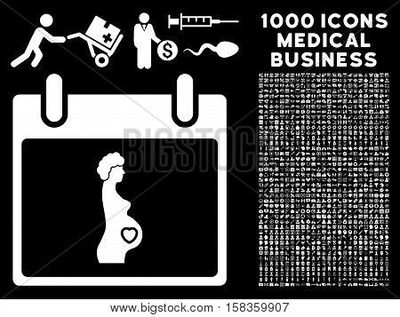 White Pregnant Woman Calendar Day vector icon with 1000 medical business pictograms. Set style is flat symbols, white color, black background.