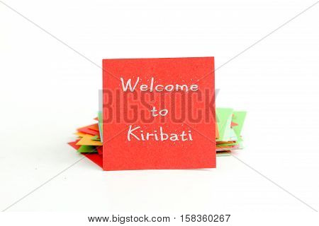 red note paper with text welcome to kiribati