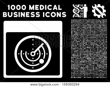 White Radar Calendar Page vector icon with 1000 medical business pictograms. Set style is flat symbols, white color, black background.