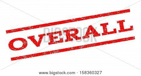 Overall watermark stamp. Text tag between parallel lines with grunge design style. Rubber seal stamp with unclean texture. Vector red color ink imprint on a white background.