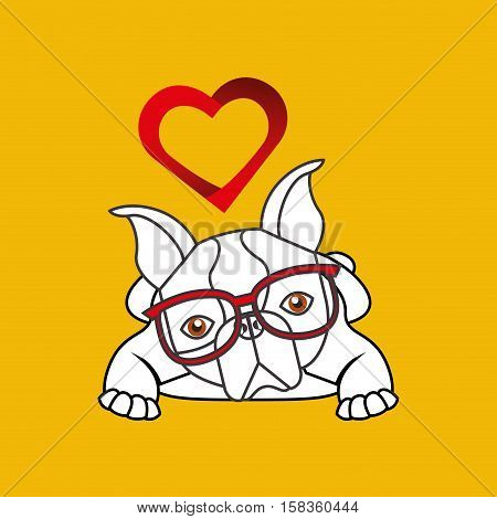 hand draw cute dog pet with glasses heart background vector illustration eps 10