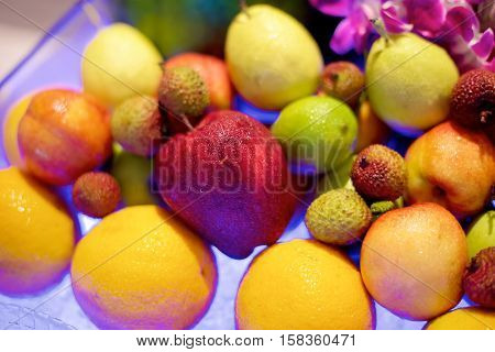 Fresh Colorful fruit in a restaurant buffet