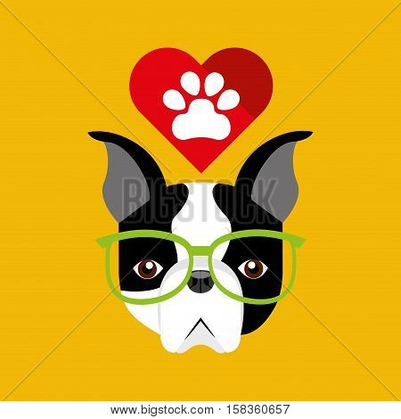 cute dog pet with paw heart background vector illustration eps 10