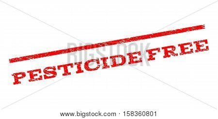 Pesticide Free watermark stamp. Text caption between parallel lines with grunge design style. Rubber seal stamp with scratched texture. Vector red color ink imprint on a white background.