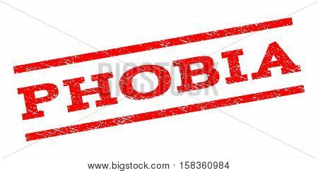Phobia watermark stamp. Text tag between parallel lines with grunge design style. Rubber seal stamp with scratched texture. Vector red color ink imprint on a white background.