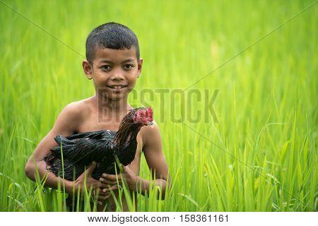 Little smiling boy farmer and chicken on green fields