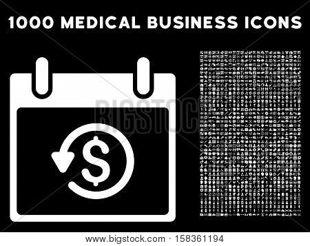 White Refund Calendar Day vector icon with 1000 medical business pictograms. Set style is flat symbols, white color, black background.