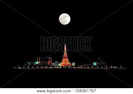 The stupa at Phra Samut Chedi in Samut Prakan Thailand with super moon / full moon