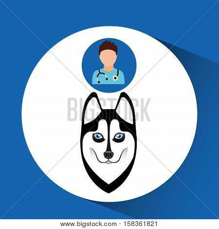 doctor cartoon veterinarian dog siberian vector illustration eps 10