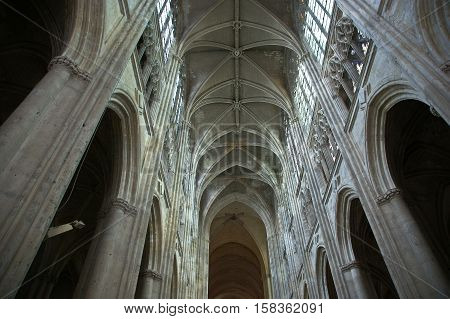 Interior Of A Gothic Cathedral Of Saint Gatien (built Between 1170 And 1547), Tours, France