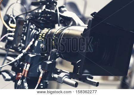 Video camera of black plastic during filming