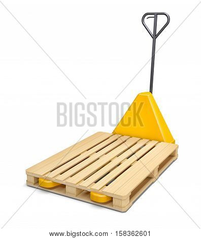 Pallet truck with wooden pallet isolated on white. 3D Illustration