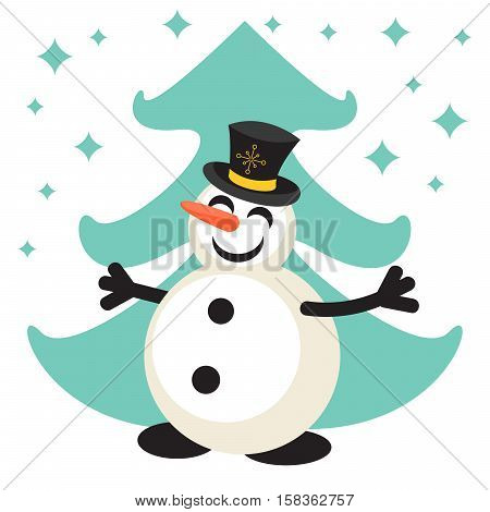 Happy snowman and mint green eve cartoon vector icon. New Year personage illustration.