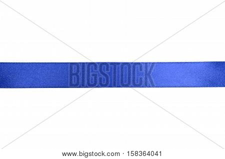 Shiny blue ribbon on white background with copy space.