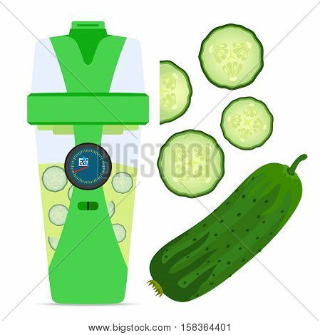 Smart hydrate bottle with cucumber, nutrition smoothie drink. Flat style.