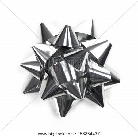 Christmas decorations, silver bow isolated on white background