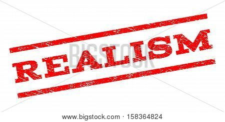 Realism watermark stamp. Text tag between parallel lines with grunge design style. Rubber seal stamp with dust texture. Vector red color ink imprint on a white background.