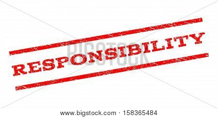 Responsibility watermark stamp. Text caption between parallel lines with grunge design style. Rubber seal stamp with unclean texture. Vector red color ink imprint on a white background.