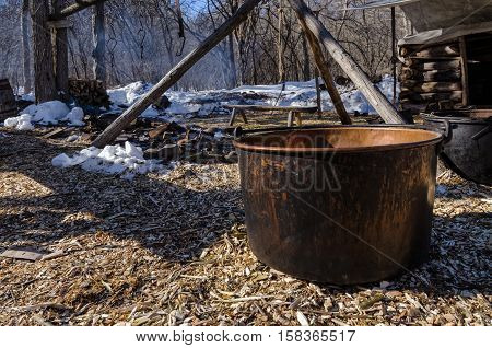 Large Kettle with Maple Sap Ready to be Boiled in Woods