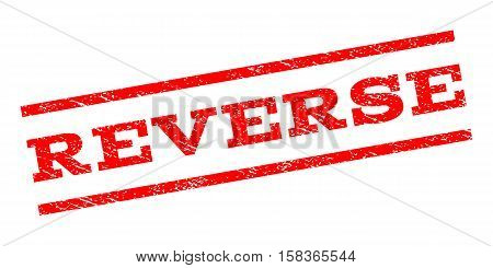 Reverse watermark stamp. Text caption between parallel lines with grunge design style. Rubber seal stamp with unclean texture. Vector red color ink imprint on a white background.