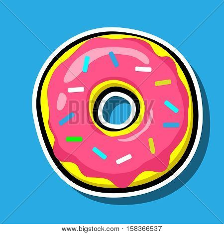 Donut vector illustration isolated on blue. Pop art Cool Patch, sticker. Comics style 80s 90s. Cute, tasty, Colored sprinkles, pink topping, logo for bakery menu
