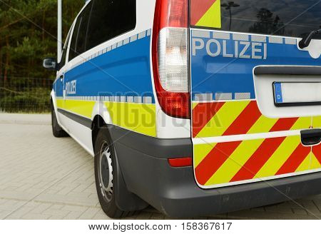 Staged photo with German police car. Highway police...
