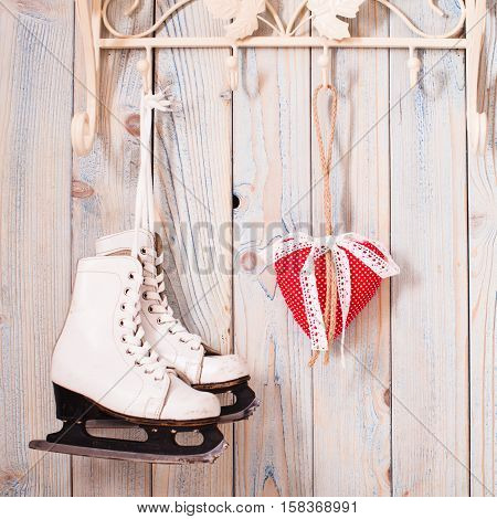 Valentine vintage decor - red gingham hearts on the hooks