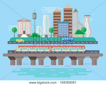 Vector Urban modern city landscape flat concept illustration. Smart city subway, cars, buildings and skyscrapers. Cityscape landscape