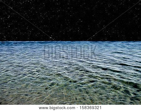 Illustration of a sea made up of glowing lines looking out to a starry night sky
