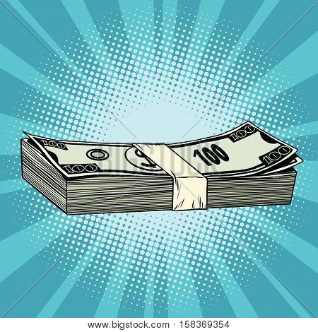 The package of hundred-dollar bills, wealth, business and Finance, pop art retro vector illustration