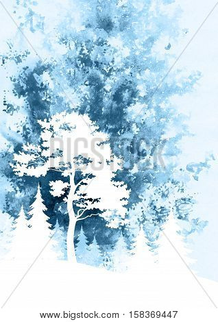 Image for Celebratory Christmas Design, Winter Forest Landscape with Pine and Fir Trees, Silhouettes on Hand-Draw Watercolor Painting Background