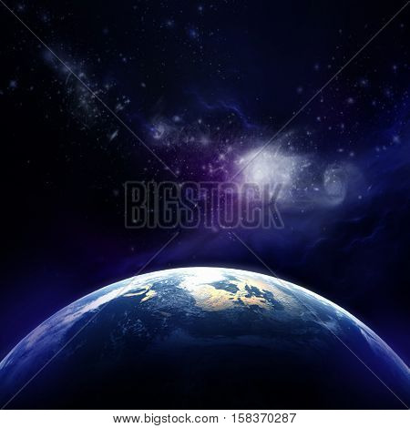 3d rendering: Planet Earth in outer space. Imaginary view of planet earth in a star field poster