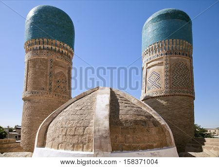 Beautiful historical madrassah Chor Minor in Bukhara, Uzbekistan