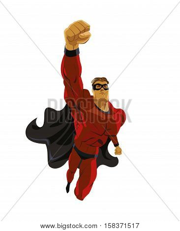Power and speed. Superhero flying. Strives height. Isolated background. Vector illustration