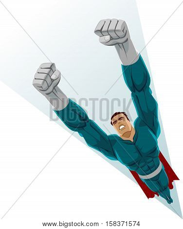Power and speed. Superhero flying up. Vector illustration