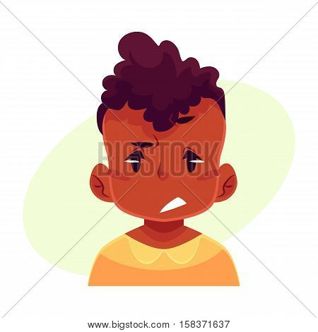 Little boy face, upset, confused facial expression, cartoon vector illustrations isolated on yellow background. black male kid emoji face, concerned, confused frustrated.