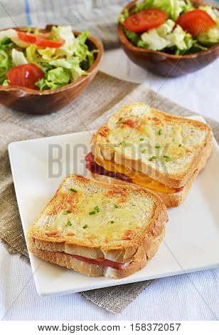 French sandwich Croque-monsieur with ham and cheese