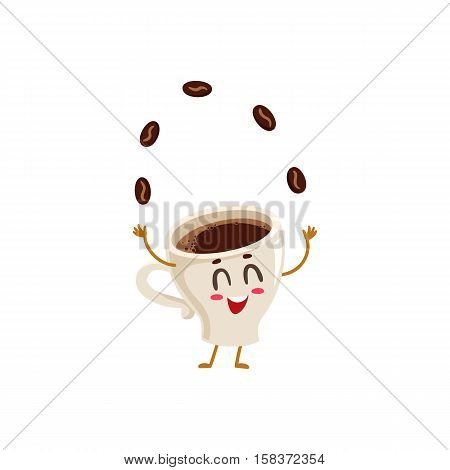 Funny energetic espresso cup character juggling coffee beans, cartoon style vector illustration isolated on white background. Cute espresso coffee cup character, morning energy boost