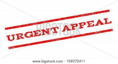Urgent Appeal watermark stamp. Text tag between parallel lines with grunge design style. Rubber seal stamp with unclean texture. Vector red color ink imprint on a white background.