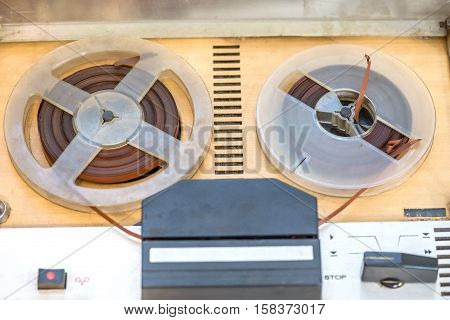 Vintage magnetic audio tape reel to reel recorder .jpg