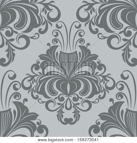 Seamless ornate vintage gray wallpaper pattern.