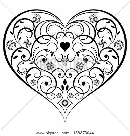 Abstract heart shaped ornament isolated on white background.