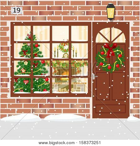 Christmas decorated door house entrance with wreath. Illuminated building facade of red bricks with door window garland xmas tree snowflakes fireplace. Vector. For postcards prints banner