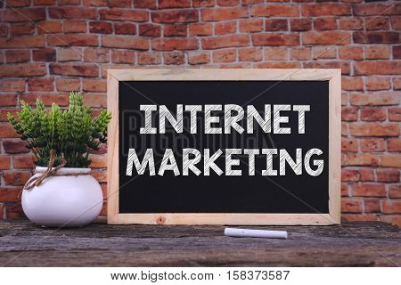 INTERNET MARKETING word on blackboard with green plant