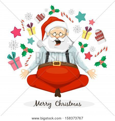 The symbol of the new year and Christmas. Santa Claus meditating. The Lotus posture. Yoga