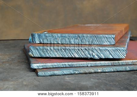 Metal plate cut-off, line, rusty background, metal texture