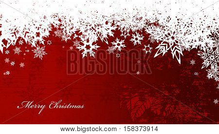 Abstract background with snowflakes and Merry Christmas text - wide screen version.