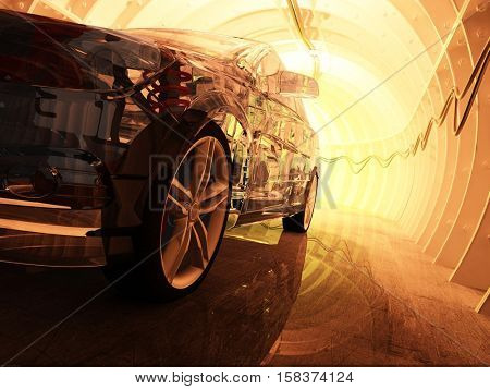 Sports car in the tunnel..3d render