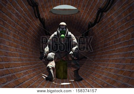 A man in a gas mask.,3d render